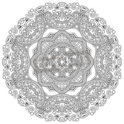 Plakát Circle ornament, black and white ornamental round lace