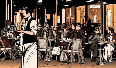 Plakát Číšník slouží zákazníkům v tradičním venkovním pařížské kavárně