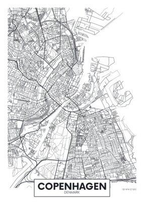Plakát City map Copenhagen, travel vector poster design
