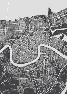 Plakát City map New Orleans, monochrome detailed plan, vector illustration