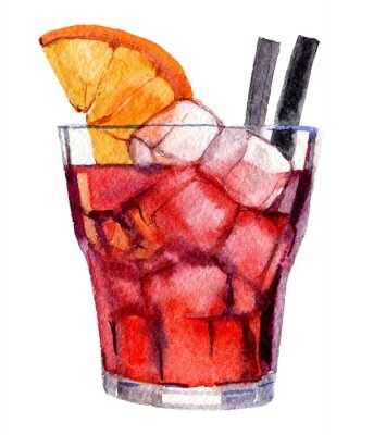 Plakát Cocktail with ice and orange isolated on white background, watercolor illustration