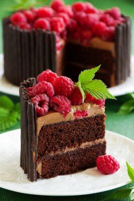 Plakát Čokoládový dort s malinami.