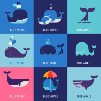 Plakát Collection of vector whale icons