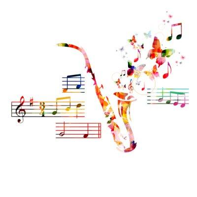 Plakát Colorful saxophone design with butterflies