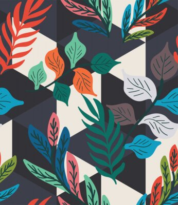 Plakát Colorful tropical leaf, fern, and geometric hexagon diamond triangle seamless pattern. Trendy repeat geo vector swatch.