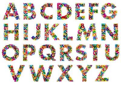 Plakát Colorful upper case alphabet letters
