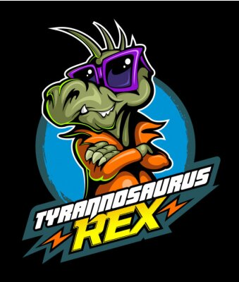 Plakát Comic book, cartoon style tyrannosaurus in the leather jacket and with the sunglasses, vector image