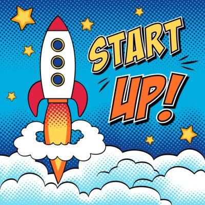 Plakát Comic ilustrace počáteční koncepce s raketou v pop-artu