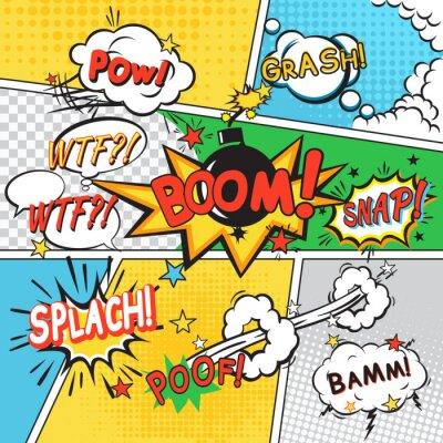 Plakát Comic set background