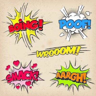 Plakát Comic Zvukové efekty s Grunged stylu