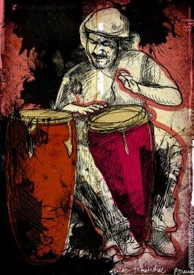 Plakát conga přehrávač - ručně malovaná ilustrace