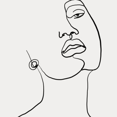 Plakát Continuous line, drawing of beauty woman face with earring , fashion concept, woman beauty minimalist, vector illustration for t-shirt slogan design print graphics style. One line fashion illustration