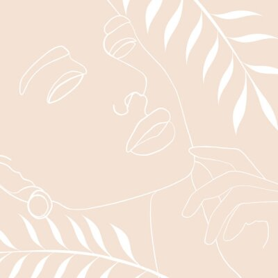 Plakát Continuous line, drawing of woman face, fashion concept, woman beauty minimalist with geometric doodle Abstract floral elements pastel colors. One line continuous drawing. vector illustration