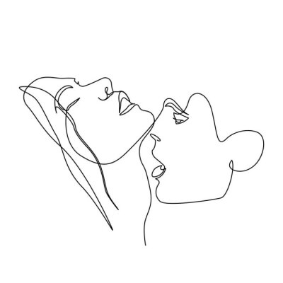 Plakát Continuous one line beautiful woman and man kisses passionately