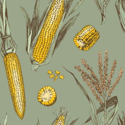Plakát Corn on the cob vintage design seamless pattern