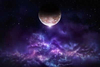 Plakát Cosmos scéna s planetou, mlhoviny a hvězdy ve vesmíru
