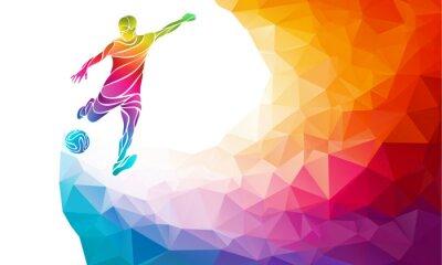 Plakát Creative silueta fotbalisty. Fotbalista kopne míč v módní barevné abstraktní polygon duhových zpět