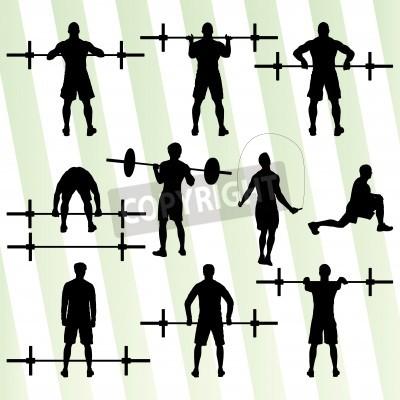 Plakát CrossFit školení s hmotností vektor pozadí koncept pro plakát