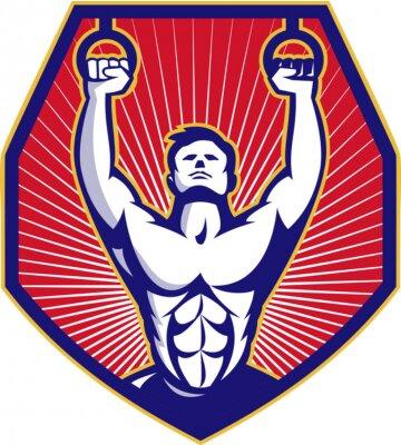 Plakát CrossFit školení Sportovec Rings Retro