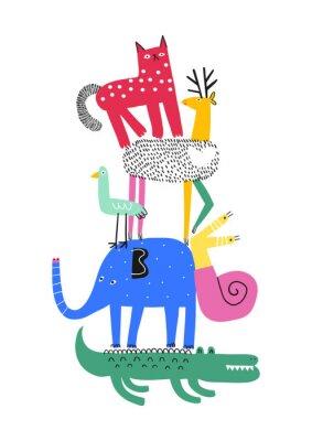 Plakát Cute animals. T-shirt graphics for kids vector illustration. Fun cartoon animals pyramid greeting card.