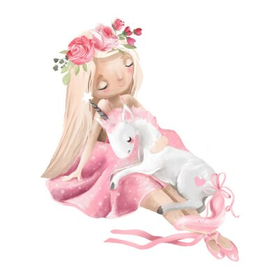 Plakát Cute ballerina, ballet girl with flowers, floral wreath and baby unicorn