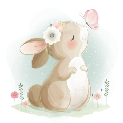 Plakát Cute Bunny and the Butterfly