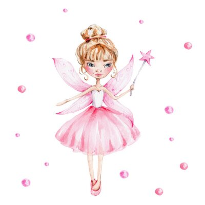 Plakát Cute cartoon fairy with magic wand and wings; watercolor hand draw illustration; with white isolated background