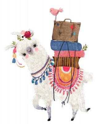 Plakát cute cartoon lama with bird