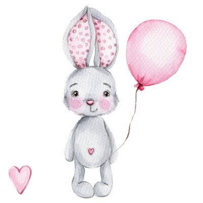 Plakát Cute cartoon little bunny with pink balloon; watercolor hand draw illustration; with white isolated background