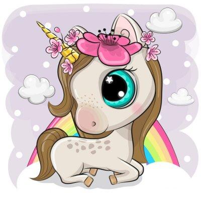 Plakát Cute Cartoon Unicorn on clouds