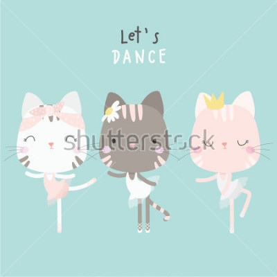 Plakát cute cat dance