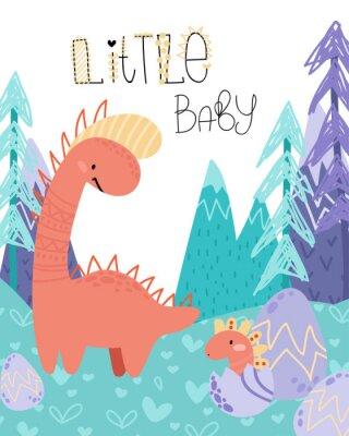 Plakát Cute childish hand drawing. Prehistoric period. Vector scandinavian illustration. Sketch of jurassic reptiles. Cartoon dinosaurs, eggs, mountains. Template baby banner, greeting card, invitation