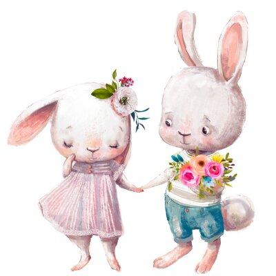 Plakát cute couple of hares