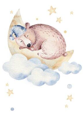 Plakát Cute dreaming cartoon animal hand drawn watercolor illustration. Sleeping charecher kids nursery wear fashion design, baby shower invitation card.