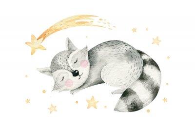 Plakát Cute dreaming cartoon cartoon animal hand drawn watercolor illustration. Sleeping charecher kids nursery wear fashion design, baby shower invitation card.