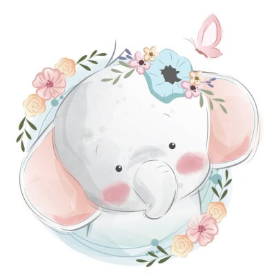 Plakát Cute Elephant Portrait
