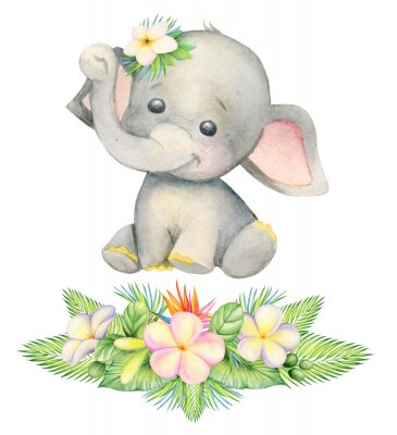 Plakát cute elephant, sitting . Children's painting, watercolor, tropical plants and flowers.