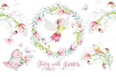 Plakát Cute Fairy character watercolor illustration on white background. Magic fantasy cartoon pink fairytale design. Baby girl birthday