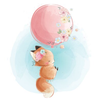 Plakát Cute Fox Flying with Flowery Balloon