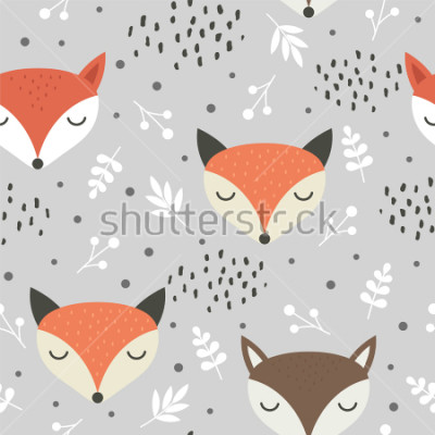 Plakát Cute fox seamless pattern, wolf hand drawn forest background with flowers and dots, vector illustration