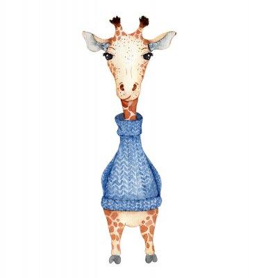 Plakát Cute giraffe cartoon watercolor illustration animal