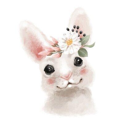 Plakát Cute hand drawn bear in floral wreath, flowers bouquet, woodland watercolor animal portrait