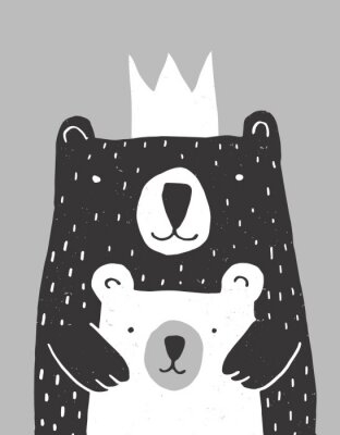 Plakát Cute Hand Drawn Big Bear and Little Baby Bear Vector Illustration. Gender Neutral Colors Nursery Art for Card, Invitation, Father's or Mother's Day. Big Black Daddy or Mommy Bear with White Crown.