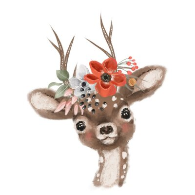 Plakát Cute hand drawn deer, fawn in floral wreath, flowers bouquet, woodland watercolor animal portrait