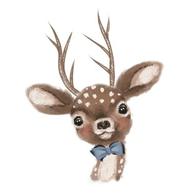 Plakát Cute hand drawn deer, fawn with bow, woodland watercolor animal portrait