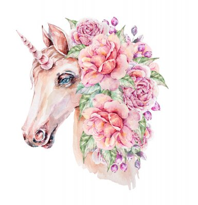 Plakát Cute hand painted watercolor unicorn illustration. Lovely horse in floral wreath. Perfect for logo, wedding or greeting cards, print, pattern