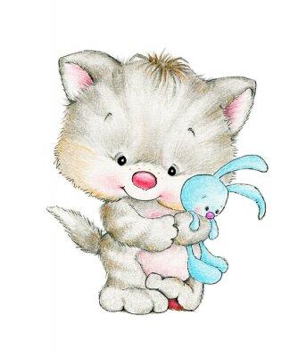 Plakát Cute kitten with baby bunny