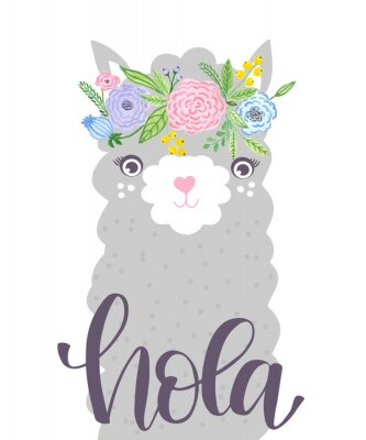 Plakát Cute Lama face. Childish print for fabric, t-shirt, poster, card, baby shower.  Illustrtion