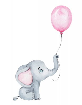 Plakát Cute little elephant with pink balloon; watercolor hand draw illustration; with white isolated background