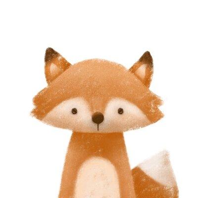 Plakát Cute little fox. Kids print or poster. Hand drawn illustration.